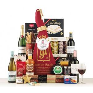 Spanish specialties Christmas box 18 items with 1 Iberian Shoulder, Iberian Chorizo, Cheese, Polvorones, Turron